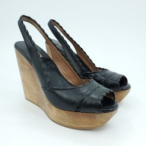 Alaia Leather Wooden Platform Slingback Wedge 6.5